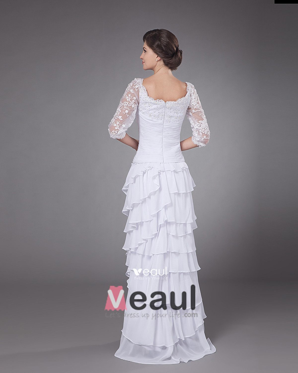 Chiffon Applique Beading Ruffle Floor Length Mothers of Bride Guests Dresses
