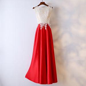 Schöne Rot Festliche Kleider Abendkleider 2017 Mit Spitze Blumen Perle Rundhalsausschnitt Knöchellänge Ärmellos A Linie