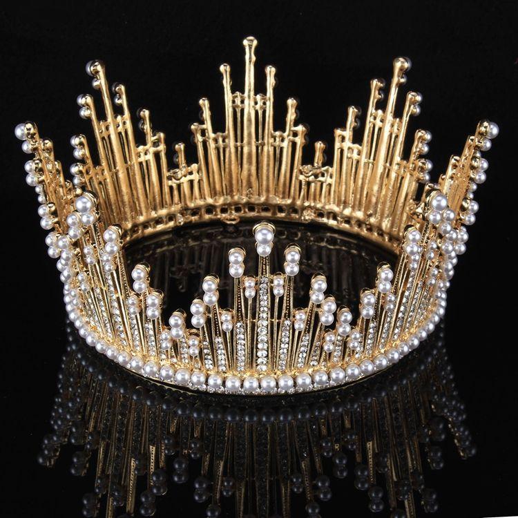 Gold Rhinestone Pearl Metal Tiara 2017 Vintage Amazing / Unique Bridal Jewelry