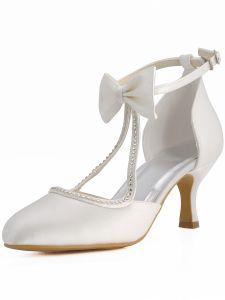 Chaussures De Mariage En Satin Doux Noeud Papillon Rondes Chaussures Bague De Pied De Diamant De Fete