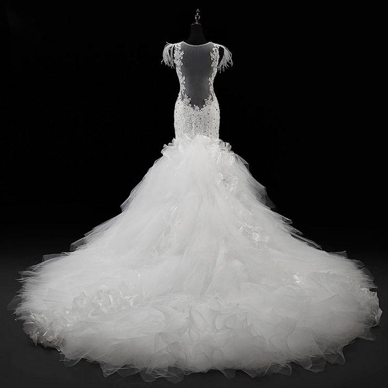 Trumpet / Mermaid 2017 Champagne Ivory White Crystal Feather Lace Handmade  Chapel Train V-Neck Church Hall Sleeveless Luxury / Gorgeous Wedding Dresses
