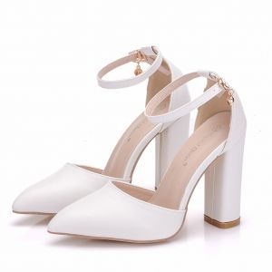 Modest / Simple White Casual Womens Shoes 2018 Ankle Strap 9 cm Thick Heels Open / Peep Toe High Heels