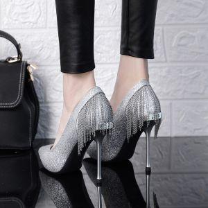 Scintillantes Argenté Chaussure De Mariée 2019 Glitter Paillettes Gland 10 cm Talons Aiguilles À Bout Pointu Mariage Escarpins