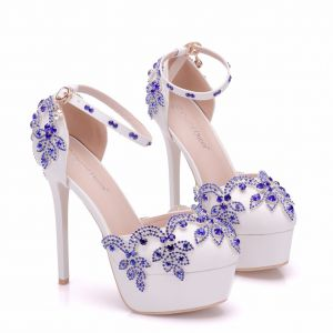 Chic / Beautiful Royal Blue Wedding Shoes 2018 Rhinestone 14 cm Stiletto Heels Round Toe Wedding High Heels