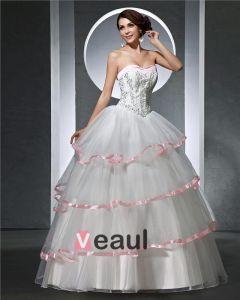 Kæreste Beading Plisseret Gulv Længde Satin Tyl Kvinde Bold Vokset Brudekjole
