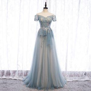 Charming Sky Blue Evening Dresses  2020 A-Line / Princess Beading Pearl Sequins Lace Flower Off-The-Shoulder Backless Floor-Length / Long Formal Dresses