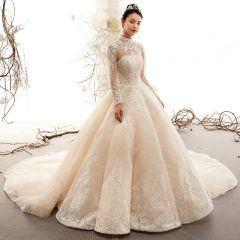 Vintage / Retro Champagne See-through Wedding Dresses 2019 A-Line / Princess High Neck Long Sleeve Heart-shaped Backless Appliques Lace Beading Cathedral Train Ruffle