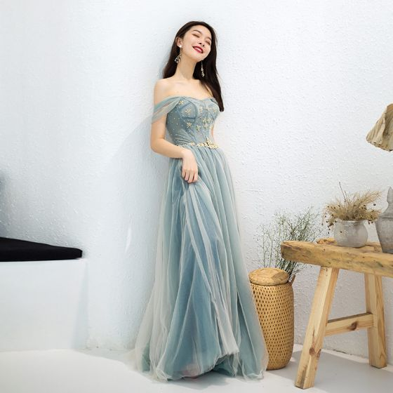 Uroczy Szałwia Zielony Sukienki Wieczorowe 2019 Princessa Przy Ramieniu Frezowanie Kryształ Rhinestone Szarfa Bez Rękawów Bez Pleców Długie Sukienki Wizytowe