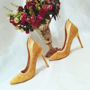 Modern / Fashion Yellow Prom Pumps 2018 Suede 10 cm Stiletto Heels Pointed Toe Pumps