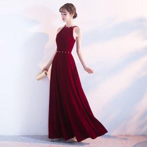 Affordable Evening Dresses  2017 Empire Rhinestone Spaghetti Straps Backless Sleeveless Ankle Length Formal Dresses