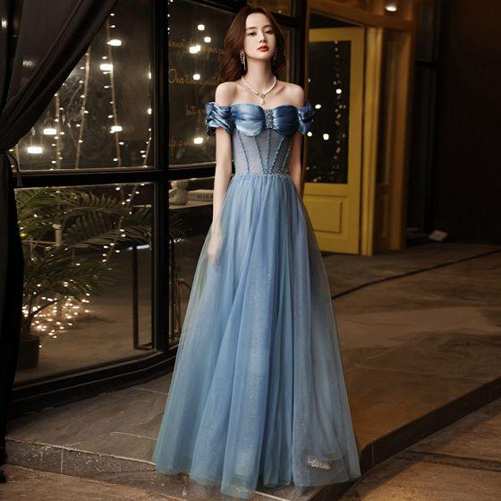 Chic / Beautiful Sky Blue Prom Dresses 2021 A-Line / Princess Off-The-Shoulder Beading Short Sleeve Backless Floor-Length / Long Formal Dresses