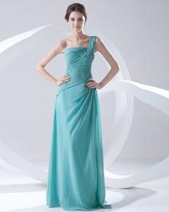 Fashion Chiffon Pleated One Shoulder Sleeveless Floor Length Bridesmaid Dress
