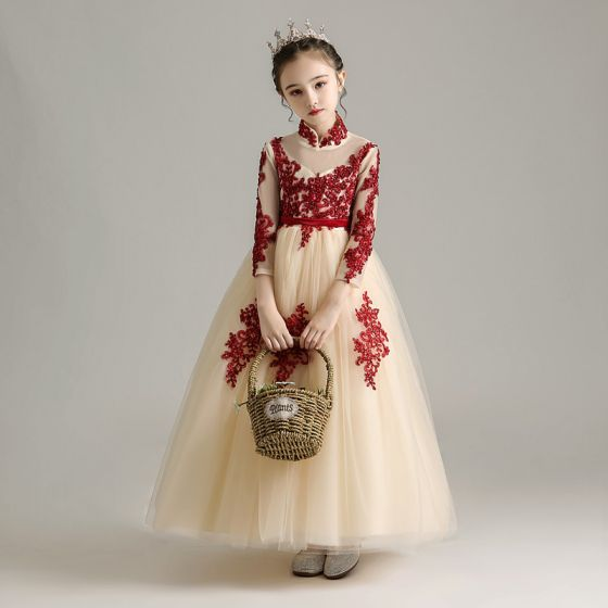 Chinese style Champagne Birthday Flower Girl Dresses 2020 Ball Gown See-through High Neck Long Sleeve Sash Appliques Lace Sequins Floor-Length / Long Ruffle