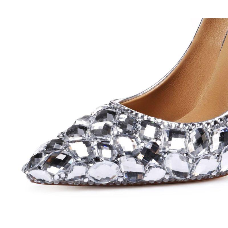 Wedding Silver Heels: Charming Silver Wedding Shoes 2020 Rhinestone 11 Cm