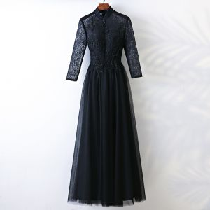 Chic / Beautiful Black Evening Dresses  2017 A-Line / Princess Lace Beading Crystal High Neck Long Sleeve Ankle Length Formal Dresses