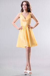 2015 Consummate Taffeta Daffodil A-line Short Bridesmaid Dress