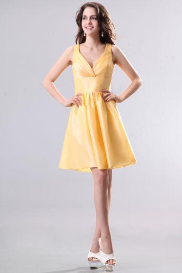 2015 Consummate Taffeta Daffodil A-line Short Bridesmaid Dress