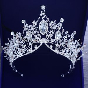 Piękne Srebrny Tiara Metal Frezowanie Kryształ Rhinestone Ozdoby Do Włosów Ślubne 2019
