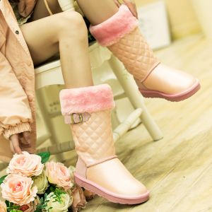 Modern / Fashion Snow Boots 2017 Blushing Pink Leather Mid Calf Buckle Casual Winter Flat Womens Boots