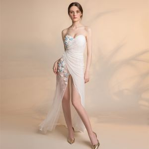 Sexy Ivory See-through Chiffon Evening Dresses  2018 Trumpet / Mermaid Sweetheart Sleeveless Appliques Flower Pearl Beading Split Front Sweep Train Ruffle Backless Formal Dresses