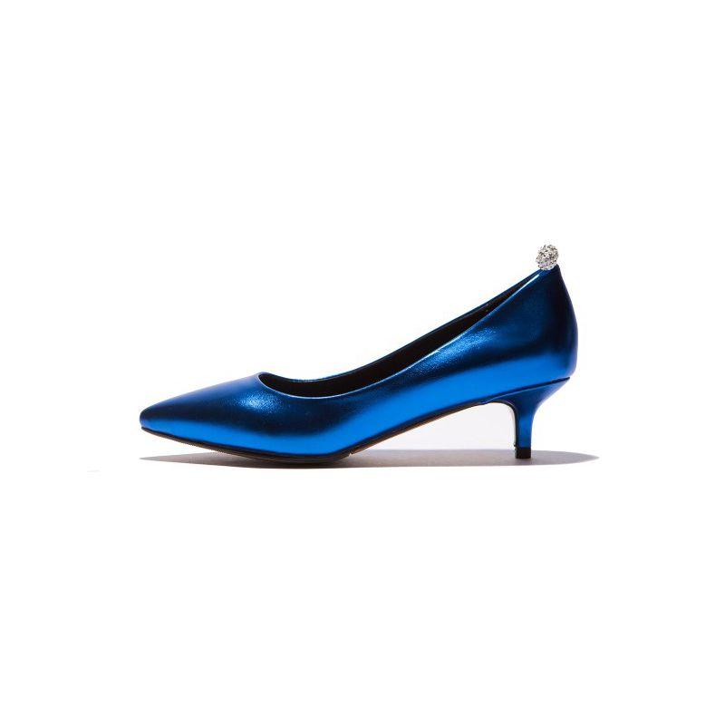 Elegant Silver Evening Party Pumps 2019 Rhinestone 3 cm Stiletto Heels Low Heel Pointed Toe Pumps