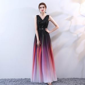 Modern / Fashion Multi-Colors Floor-Length / Long Evening Dresses  2018 A-Line / Princess V-Neck Tulle Backless Beading Sequins Evening Party Formal Dresses
