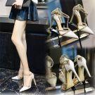 Luxury / Gorgeous 2017 White Evening Party Leatherette Rhinestone High Heels Stiletto Heels 10 cm / 4 inch Pumps