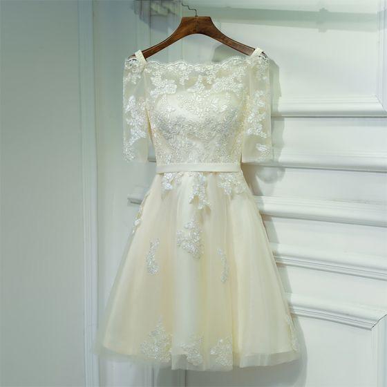 Sencillos Champán Vestidos para bodas 2017 Con Encaje Flor De Tiras Escote Cuadrado Cortos 1/2 Ærmer A-Line / Princess Vestidos De Damas De Honor