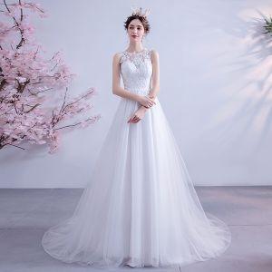 Eleganta Elfenben Bröllopsklänningar 2020 Prinsessa Urringning Spets Blomma Ärmlös Domstol Tåg
