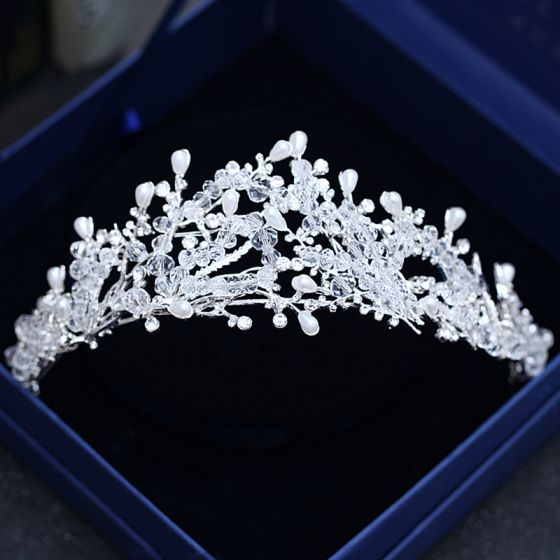 Chic / Beautiful Silver Wedding Accessories 2018 Metal Crystal Beading Pearl Rhinestone Tiara