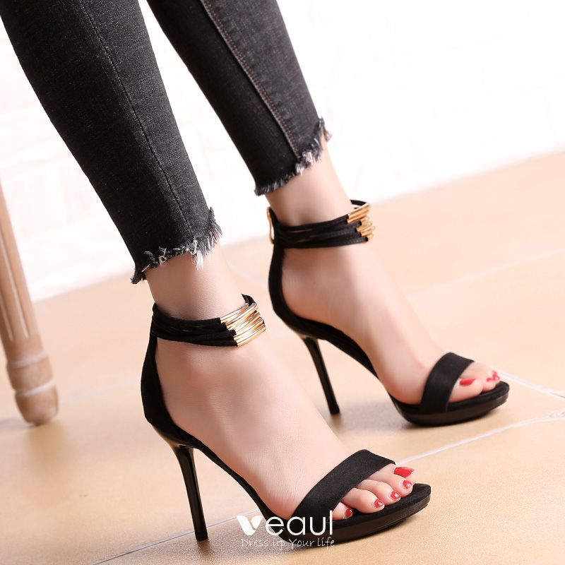 Chic / Beautiful Cocktail Party Womens Shoes 2017 PU Ankle Strap High Heel Open / Peep Toe Pumps