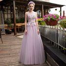 Elegant Lavender See-through Prom Dresses 2018 A-Line / Princess Scoop Neck Sleeveless Appliques Flower Pearl Rhinestone Sash Floor-Length / Long Ruffle Backless Formal Dresses