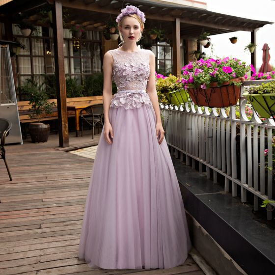 Purple Ruffle Prom Dress