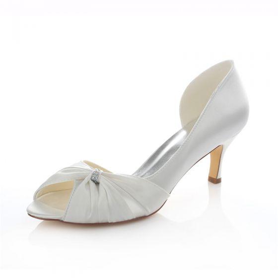 Beau Satin Chaussures De Mariée Talons Aiguilles Escarpin Blanc Peep Toe