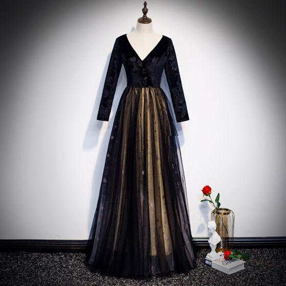 Piękne Czarne Zamszowe Sukienki Wieczorowe 2020 Princessa V-Szyja Długie Rękawy Haftowane Kwiat Gwiazda Rhinestone Długie Sukienki Wizytowe