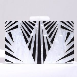 Modern / Fashion White Striped Cocktail Party Evening Party Clutch Bags 2018