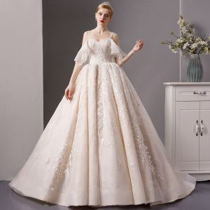 Luxury / Gorgeous Champagne Wedding Dresses 2019 Ball Gown Spaghetti Straps Short Sleeve Backless Appliques Lace Handmade  Beading Chapel Train Ruffle