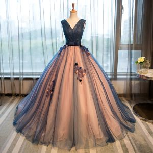 Chic / Beautiful 2017 Navy Blue Prom Dresses V-Neck Lace Strappy Corset Appliques Backless A-Line / Princess Formal Dresses