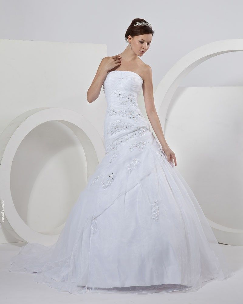 Satin Organza Strapless Beading Applique Ruffles Mermaid Bridal Gown Wedding Dresses