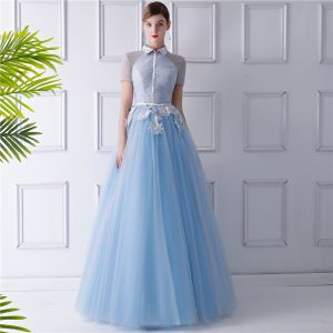 Vintage / Retro Sky Blue See-through Evening Dresses  2019 A-Line / Princess High Neck Short Sleeve Appliques Lace Beading Sash Floor-Length / Long Ruffle Backless Formal Dresses
