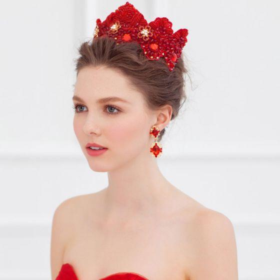 Red Luxus Retro Hand-perlen Krone / Kleid Zubehör Ohrring