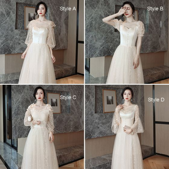 Affordable Champagne Bridesmaid Dresses 2021 A-Line / Princess Backless Spotted Tulle Floor-Length / Long Ruffle
