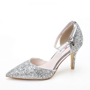 Wedding Shoes 2017 Silver Leather Glitter Strappy Stiletto Heels Pumps Pointed Toe