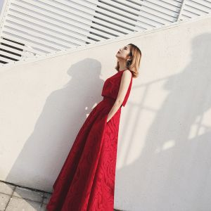 2 Piece Evening Dresses  2017 Burgundy A-Line / Princess Floor-Length / Long Scoop Neck Sleeveless Backless Formal Dresses