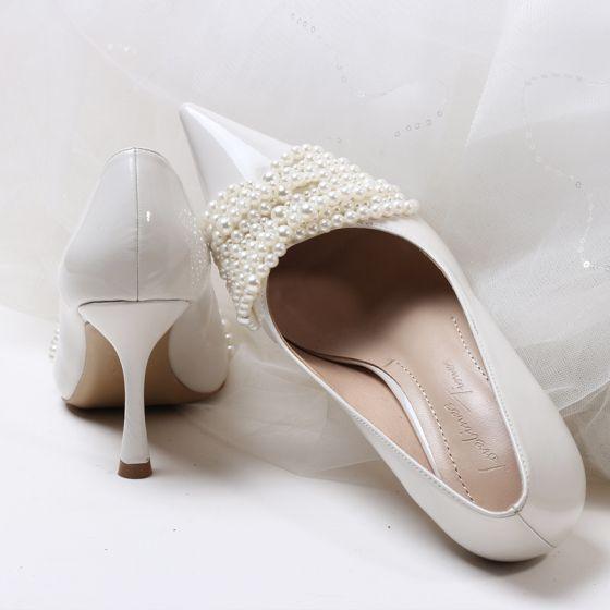 Elegante Witte Parel Bruidsschoenen 2020 8 cm Naaldhakken / Stiletto Spitse Neus Huwelijk Pumps