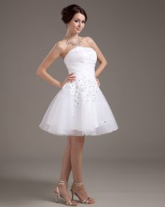 Sleeveless Mesh Satin Flowers Beading Short Mini Wedding Dresses