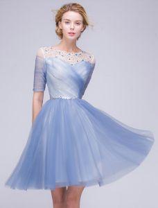 Elegante Abiballkleider 2016 A-line Rundhalsausschnitt Sicken Pailletten Rüschen Blau Tüll Kurzes Partykleid