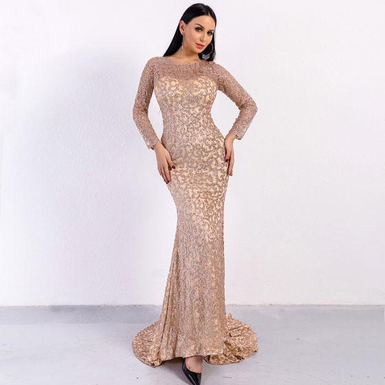 Erschwinglich Rose Gold Durchsichtige Abendkleider 2020 Meerjungfrau Rundhalsausschnitt Lange Ärmel Glanz Tülle Lange Festliche Kleider
