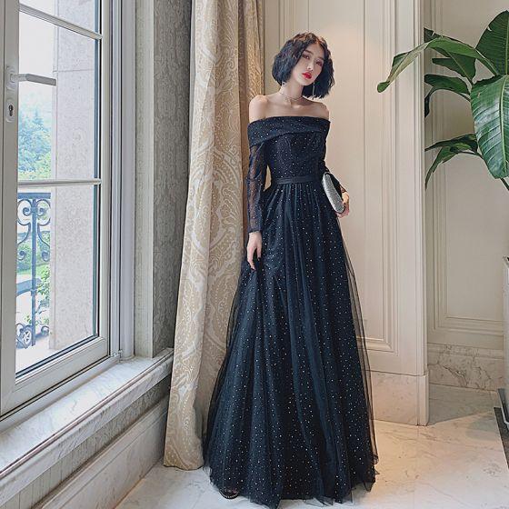 Bling Bling Czarne Taniec Sukienki Na Bal 2021 Princessa Przy Ramieniu Kótkie Rękawy Cekiny Tiulowe Długie Wzburzyć Bez Pleców Sukienki Wizytowe
