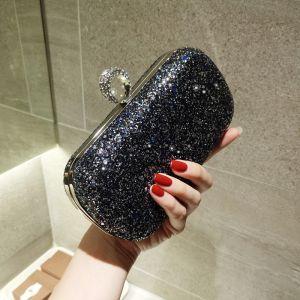 Bling Bling Cielo Estrellado Negro Glitter Bolsas de embrague 2018